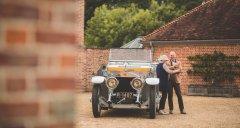Lange CEO Wilhelm Schmid in conversation with Katie Forrest beside her 1912 Rolls-Royce Silver Ghost