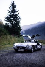 "AROSA, SWITZERLAND – 01. September 2019: The IWC Racing Team showed up on the grid of the 15th Arosa Classic Car for the second time. Bernd Schneider drove the Mercedes-Benz 300 SL ""Gullwing"" on the winding 7.3 kilometre hill-climb route from Langwies to Arosa. (Photo by Justin Schmoeller for IWC)"