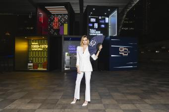 Monaco 5th limited editon launch in Shanghai_Cara Delevingne in front of 'timeboxes'