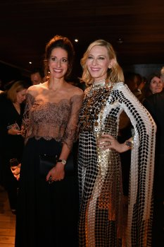 """IWC Schaffhausen CMO Franziska Gsell and Australian actor and IWC brand ambassador Cate Blanchett attend the IWC Private Dinner held at Haute on October 05, 2019 in Zurich, Switzerland. During the event, Australian actor and IWC brand ambassador Cate Blanchett presented the 5th Filmmaker Award. The film """"Wanda, my miracle"""", directed by Bettina Oberli and produced by Lukas Hobi and Reto Schaerli, was declared the winner by the jury. The award, which is worth CHF 100,000, supports outstanding Swiss film projects that are in the production or post-production stage. (Photo by Harold Cunningham/Getty Images for IWC)"""
