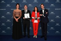 """IWC Schaffhausen CMO Franziska Gsell, award winners Reto Schaerli and Bettina Oberli, and IWC Schaffhausen CEO Chris Grainger-Herr attend the IWC Private Dinner held at Haute on October 05, 2019 in Zurich, Switzerland. During the event, Australian actor and IWC brand ambassador Cate Blanchett presented the 5th Filmmaker Award. The film """"Wanda, my miracle"""", directed by Bettina Oberli and produced by Lukas Hobi and Reto Schaerli, was declared the winner by the jury. The award, which is worth CHF 100,000, supports outstanding Swiss film projects that are in the production or post-production stage. (Photo by Harold Cunningham/Getty Images for IWC) DOWNLOAD"""