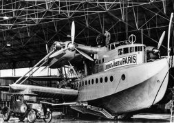 The huge seaplane, the Latécoère 521 Lieutenant de Vaisseau Paris in its hangar in Biscarrosse, France @Latécoère Foundation.