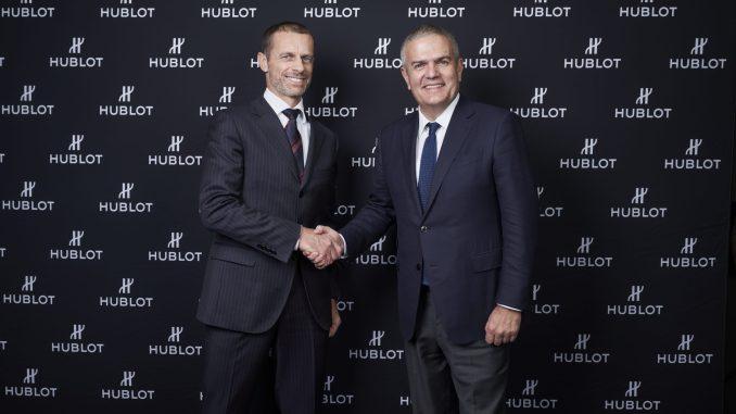 Aleksander Ceferin, UEFA President and Ricardo Guadalupe, CEO Hublot