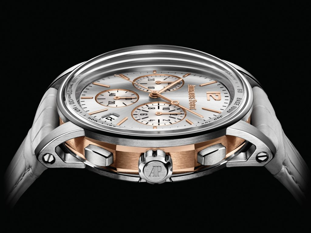 The pink gold hour-markers, hands and counter threads subtly echo this Selfwinding Chronograph model's pink gold middle case.
