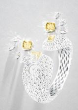 EXQUISITE MOMENTS SECRET WATCH 18K white gold secret watch set with 1 radiant-cut fancy vivid yellow diamond (approx. 5.20 cts), 1 radiant-cut fancy vivid yellow diamond (approx. 5.15 cts), 500 marquise-cut diamonds (approx. 20.00 cts) and brilliant-cut diamonds (approx. 1.32 cts) Diamond set dial Piaget manufacture 56P quartz movement Unique creation G0A45025