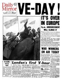 GRAHAM WATCHES - Daily Miror Front page on VE-Day