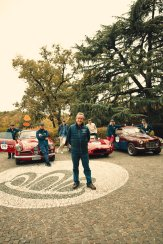 Chopard team drivers before the start of the 1000 Miglia 2020 in Brescia, Italy (c) Adam Fussell