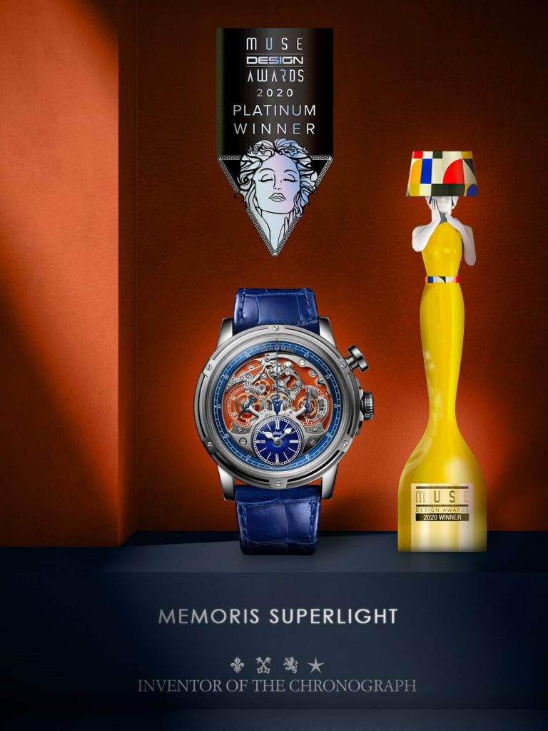 """Memoris Superlight is once again rewarded for its unique design! A memorable 2020, rich in prizes, for Memoris Superlight. A """"Platinum Award"""" from the Muse Design Awards has been added to its list of achievements. An avant-garde international competition created in 2018, the Muse Design Awards honours design professionals and only rewards exceptional concepts, especially in the field of architecture. More than 4,500 candidates, from 57 different countries, have registered so far in an attempt to win a prize. The chronograph mechanism, fully visible on the dial side, gives Memoris Superlight an unusual aesthetic. This symmetry between construction and design ultimately convinced the panel and Memoris Superlight was once again rewarded."""