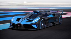 Bugatti Bolide driving shot on a virtual racetrack