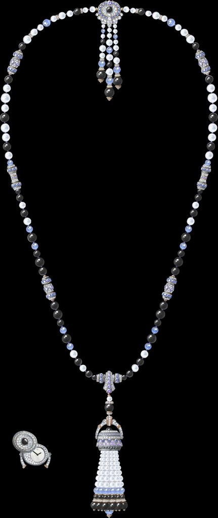Pompon Gaia transformable long necklace watch White gold, rose gold, blue and mauve sapphires, black spinels, onyx, chalcedony, white cultured pearls, white mother-of-pearl, diamonds, quartz movement Pompon Gaia transformable long necklace watch Rose gold, pink sapphires, rubies, coral,