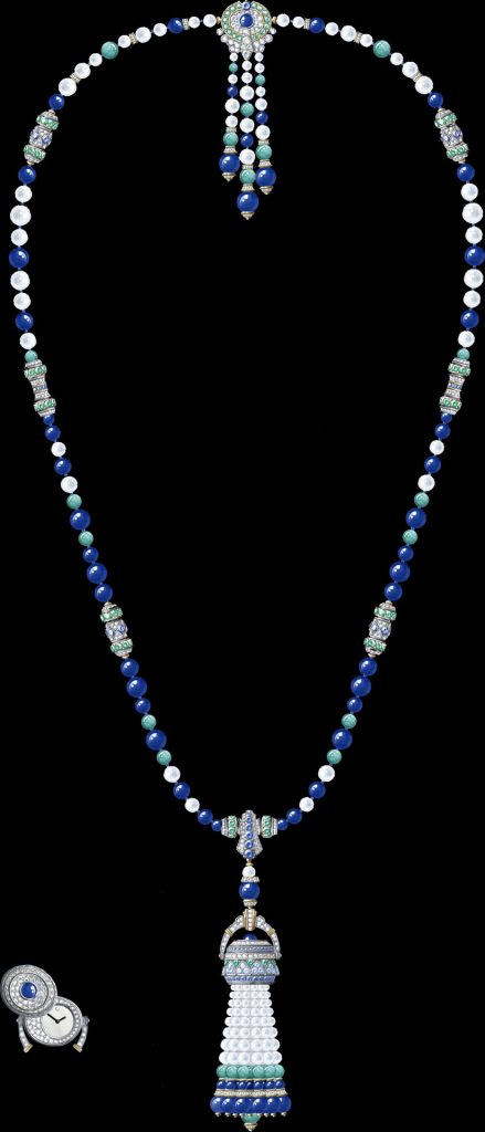 Pompon Gaia transformable long necklace watch Yellow gold, white gold, sapphires, emeralds, lapis lazuli, amazonite, white cultured pearls, white mother-of-pearl, diamonds, quartz movement