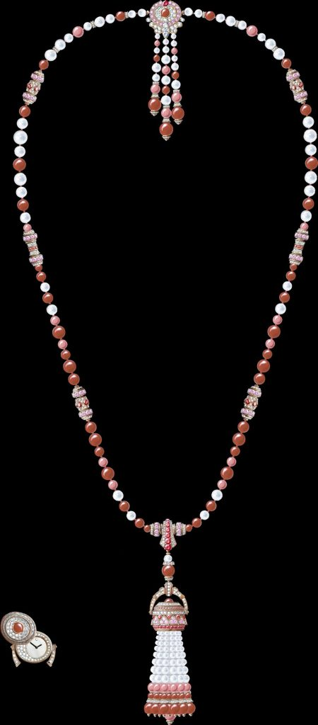 Pompon Gaia transformable long necklace watch Rose gold, pink sapphires, rubies, coral, white cultured pearls, white mother-of-pearl, diamonds, quartz movement