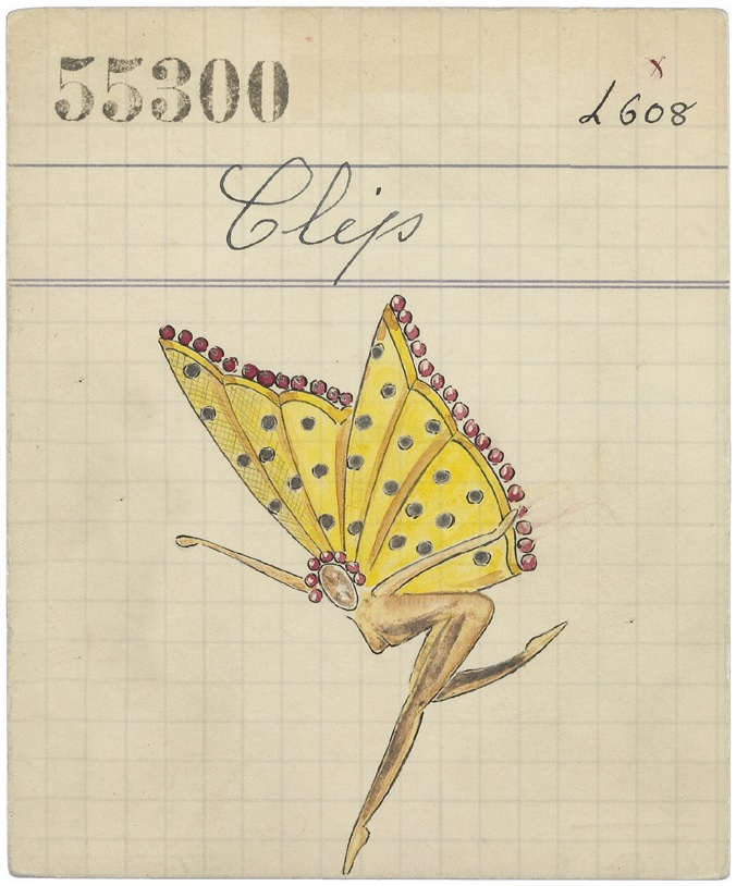 Product card of a Papillon fairy clip, 1945 Van Cleef & Arpels Archives