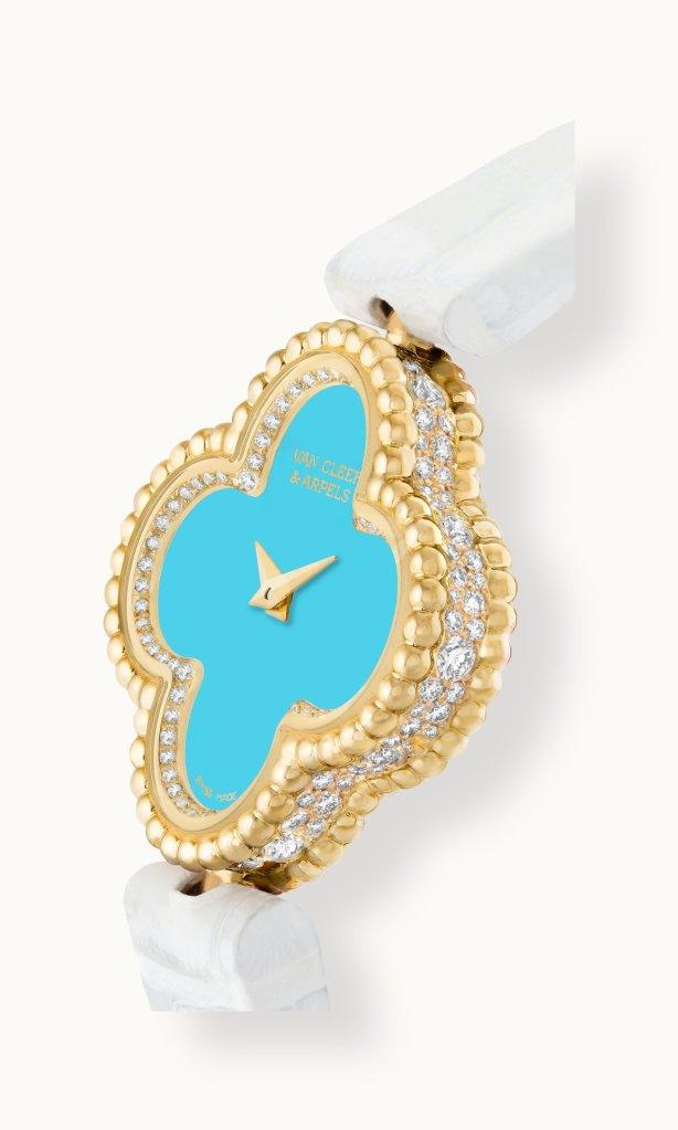 Sweet Alhambra watch, yellow gold, diamonds, dial in turquoise, alligator bracelet, quartz movement