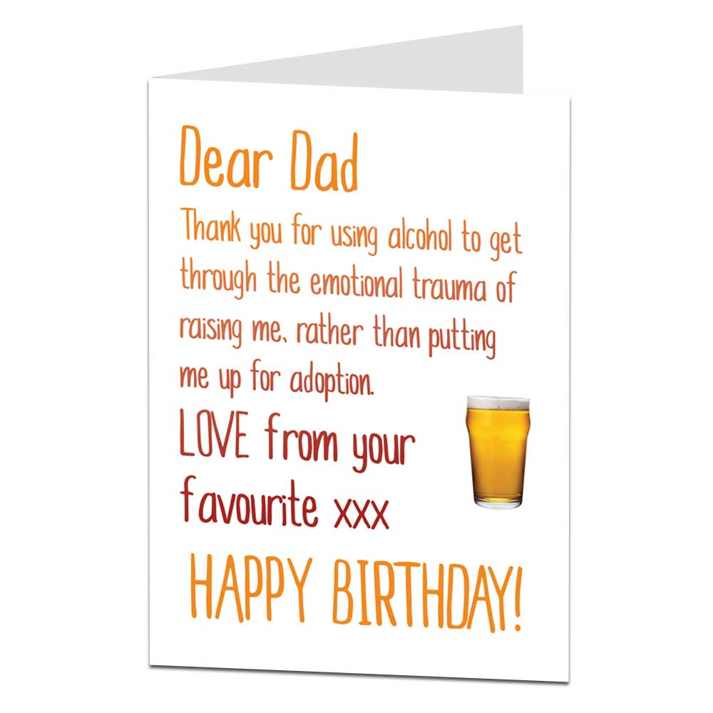 Happy Birthday Dad Card Alcohol Instead Of Adoption