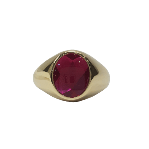 9ct yellow gold synethix ruby set signet ring_0