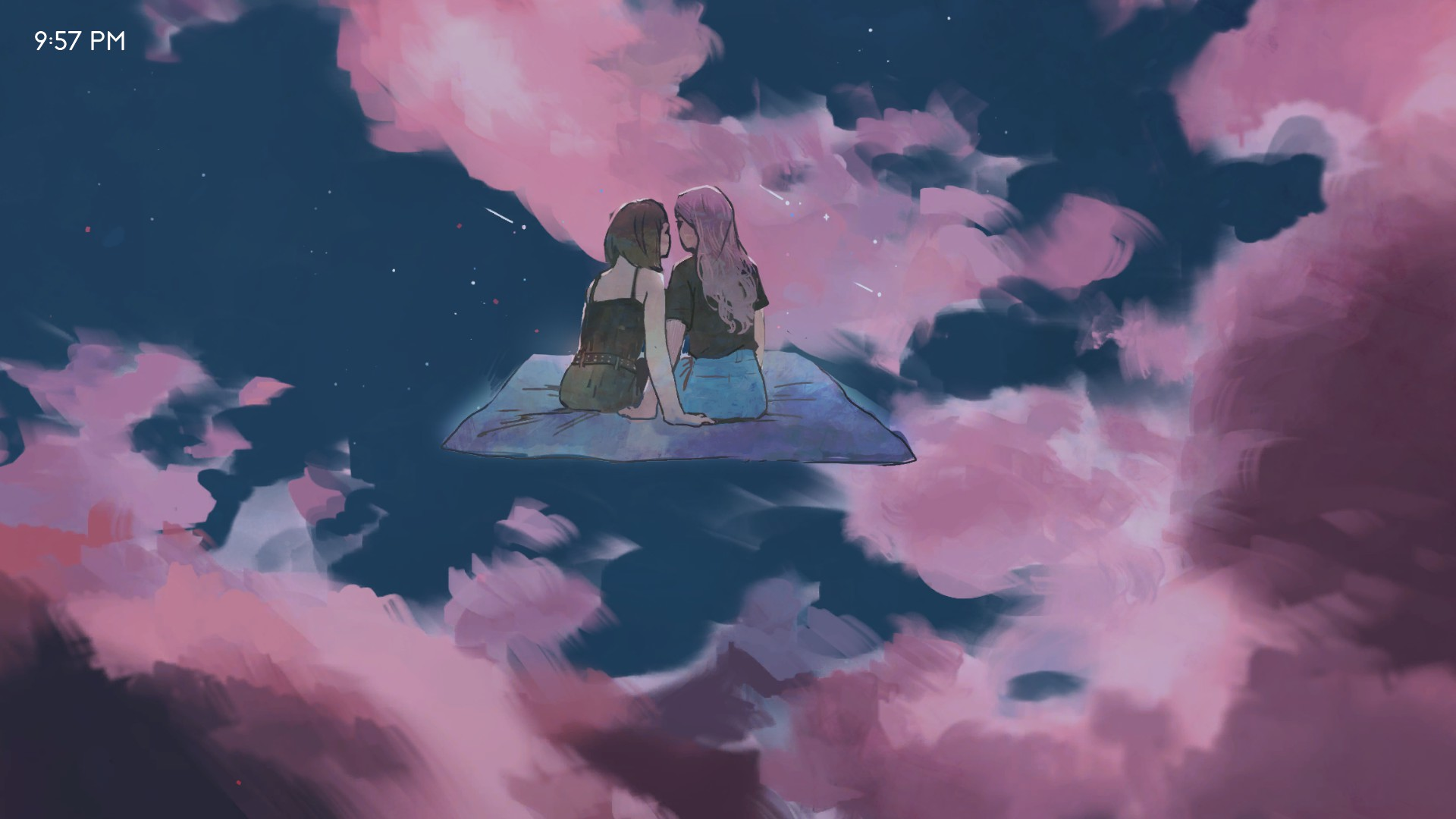 pink cloudy sky, two girls sitting on blanket suspended mid-screen, 6/10 free steam games