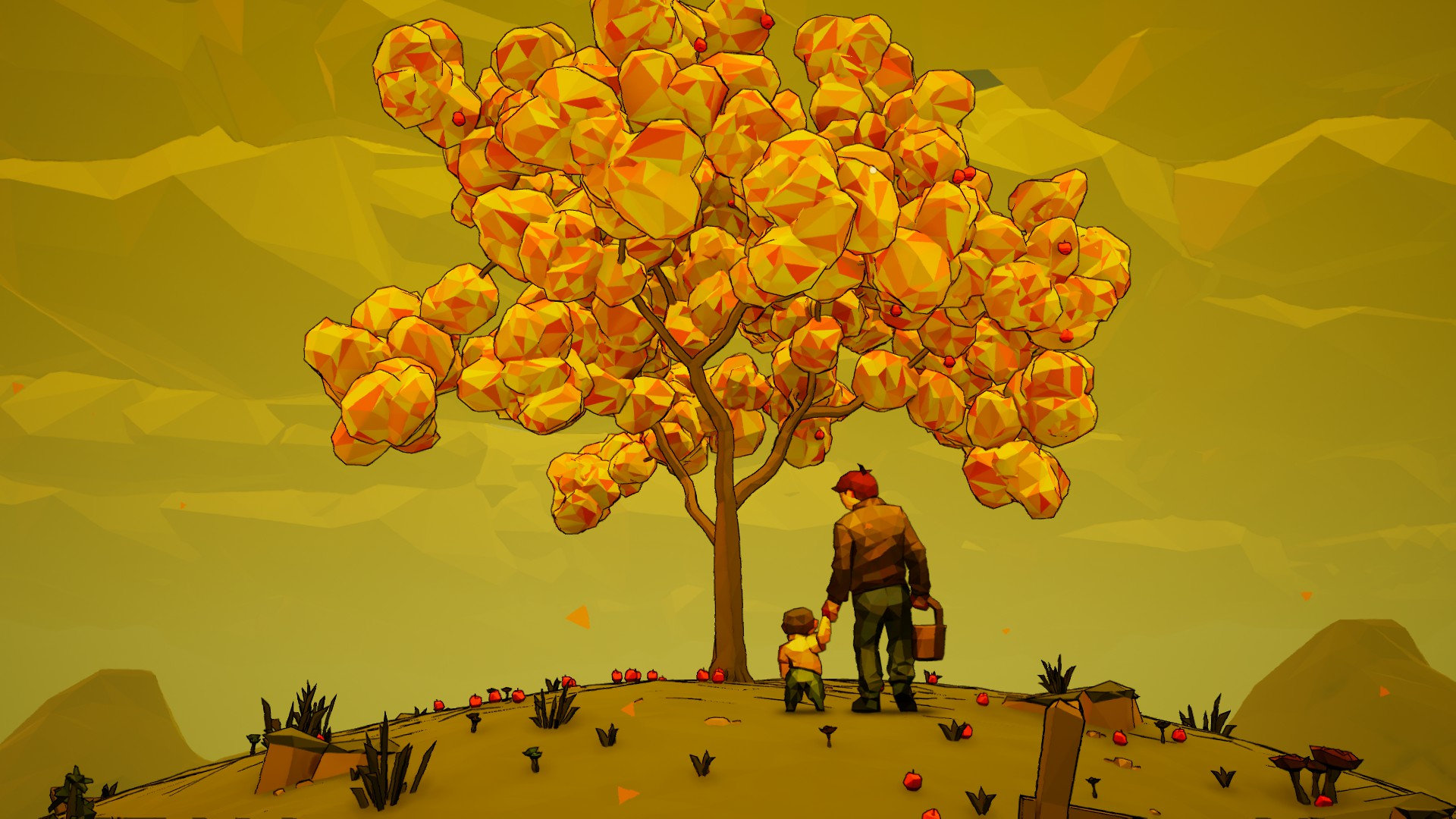 toddler and old man under tree with yellow leaves and apples, 9/10 free steam games