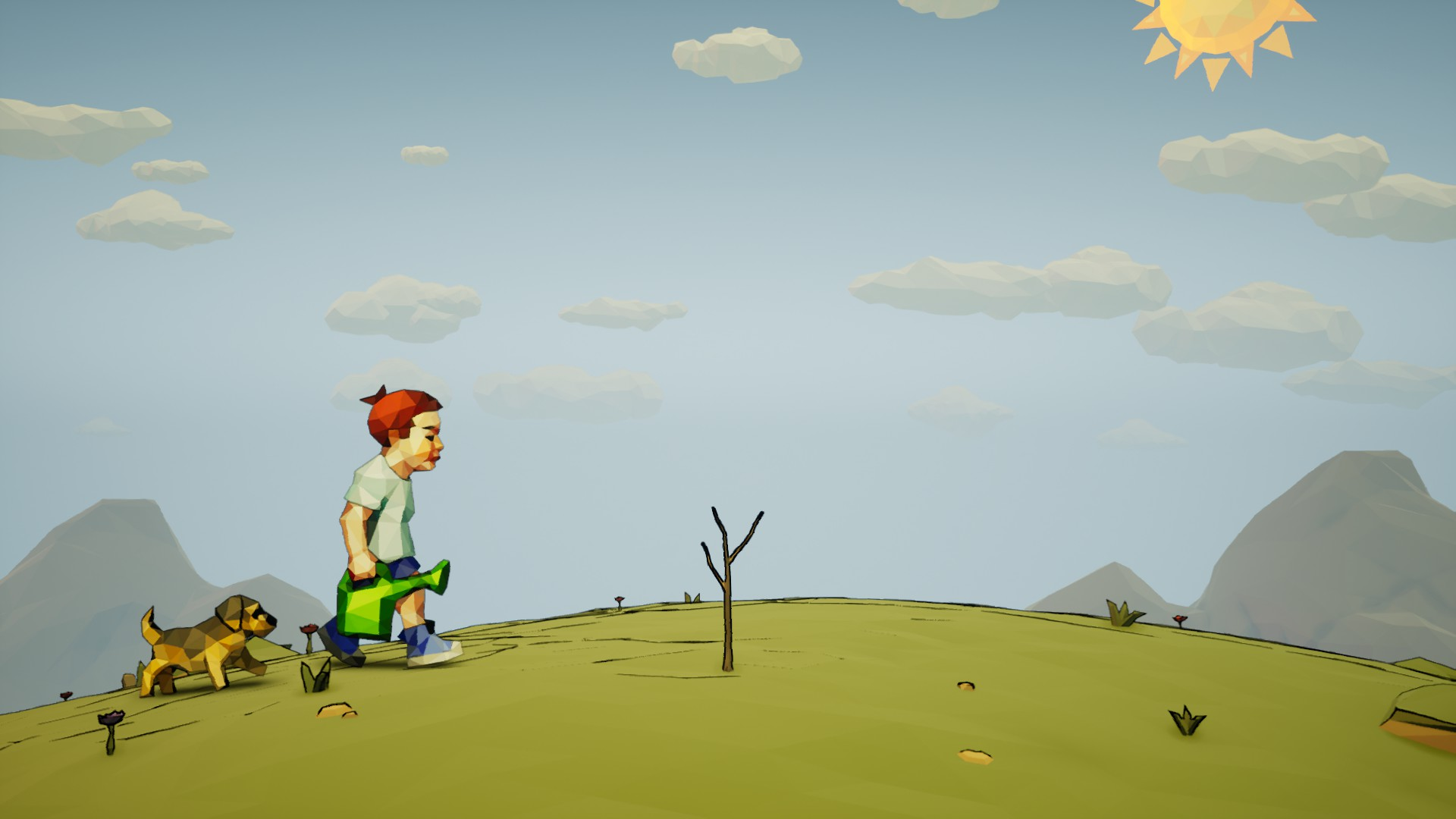 boy with dog and watering can walking toward young tree, 9/10 free steam games