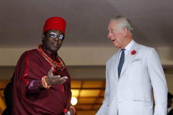 Prince Charles with Oba of Benin, Eheneden Erediauwa