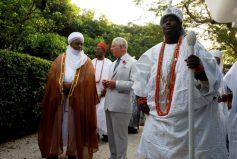 Prince Chairles flanked by Ooni of Ife Adeyeye Ogunwusi (right) Prince Charls chatting with the Sultan of Sokoto Sa'ad Abubakar III