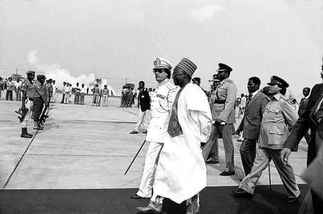 Shagari with former Libyan Leader Ghadaffi