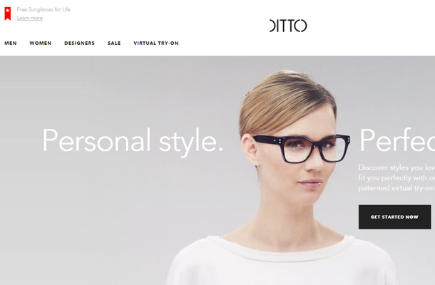 ditto glasses animation website layout homepage