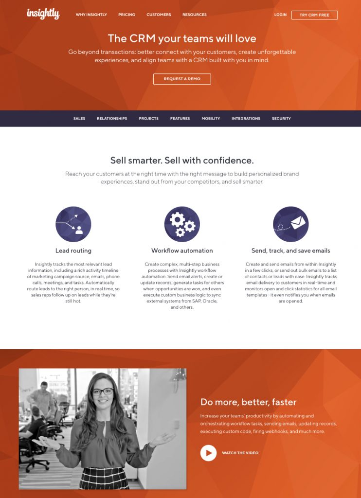 product landing page Insightly CRM