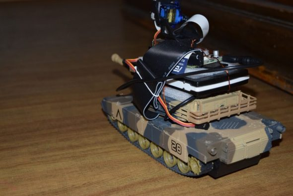 Raspberry Pi Tank on the floor, rear left view