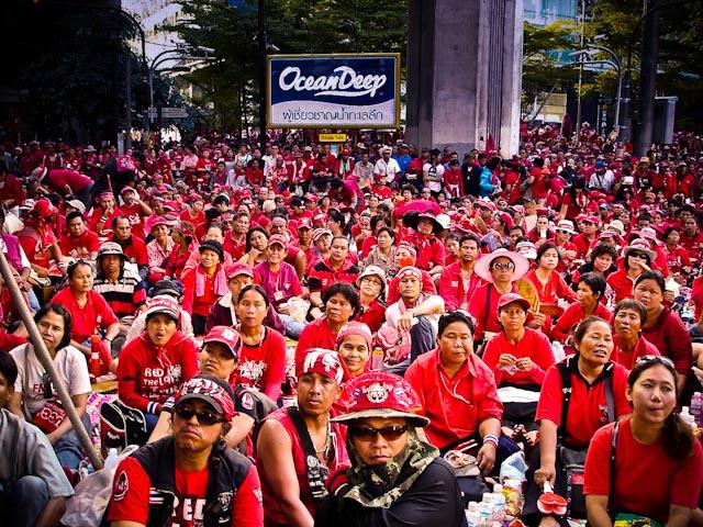 red shirts in downtown Bangkok shopping zone