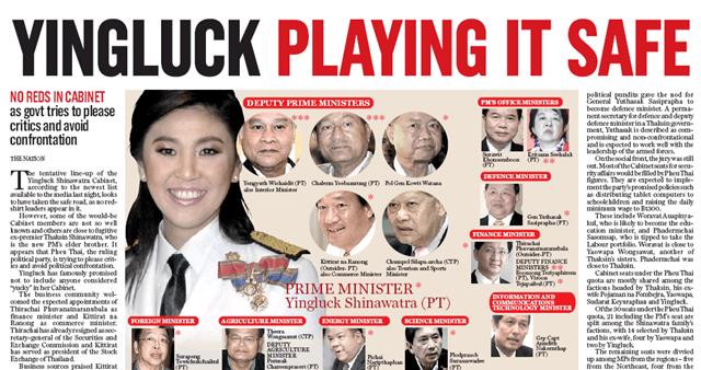 Yingluck Nation Newspaper