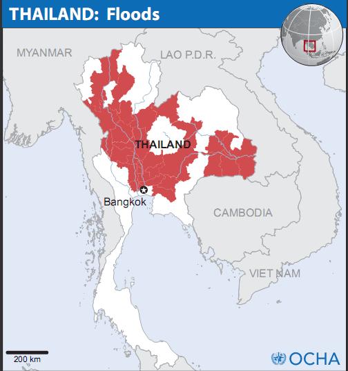 La carte Thailande de l'OCHA (Office for the Coordination of Humanitarian Affairs)
