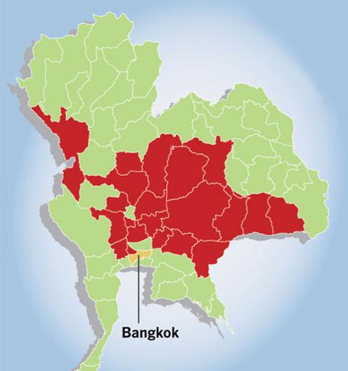 Les inondations ont touché une superficie comparable à la taille du Danemark, soit un cinquième de la surface de la Thaïlande
