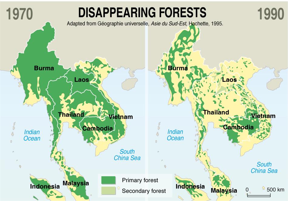 Carte de la déforestation en Asie.
