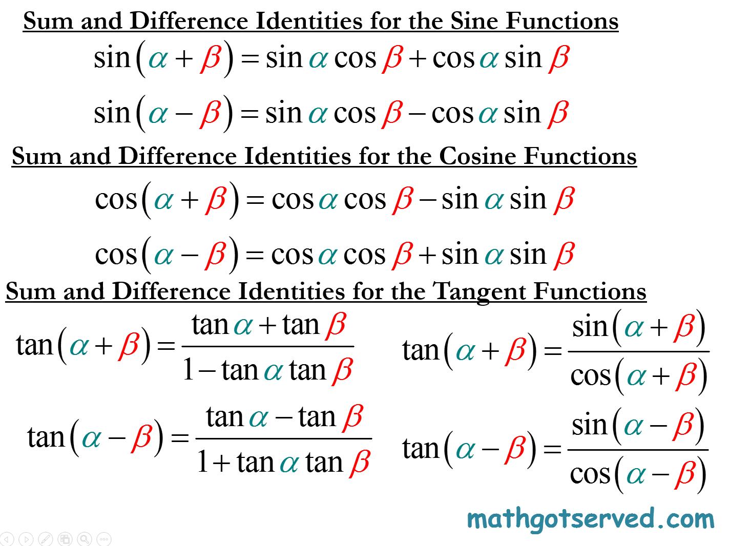 Trigonometric Identitiesytic