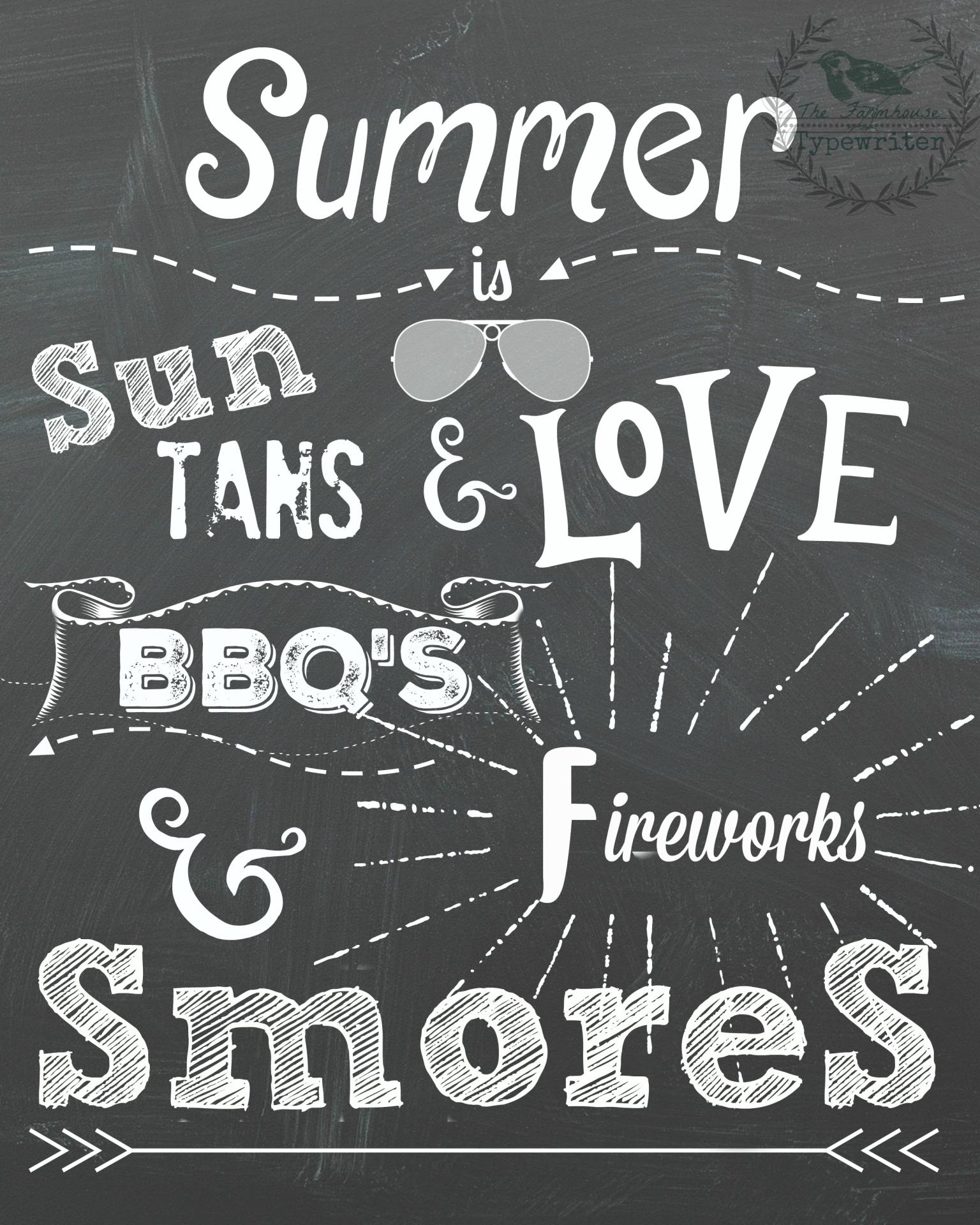 Summer chalkboard sign