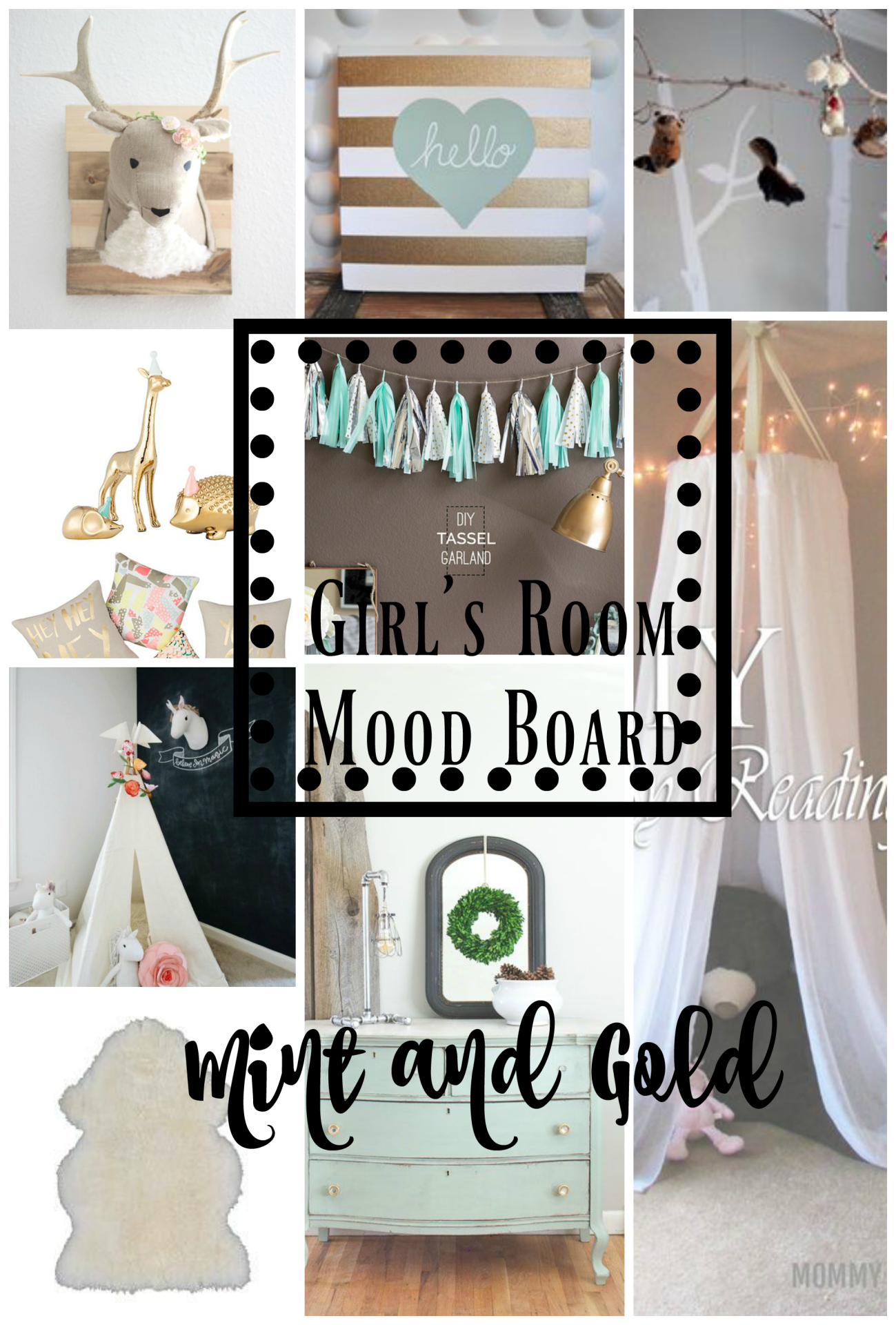 mint and gold mood board