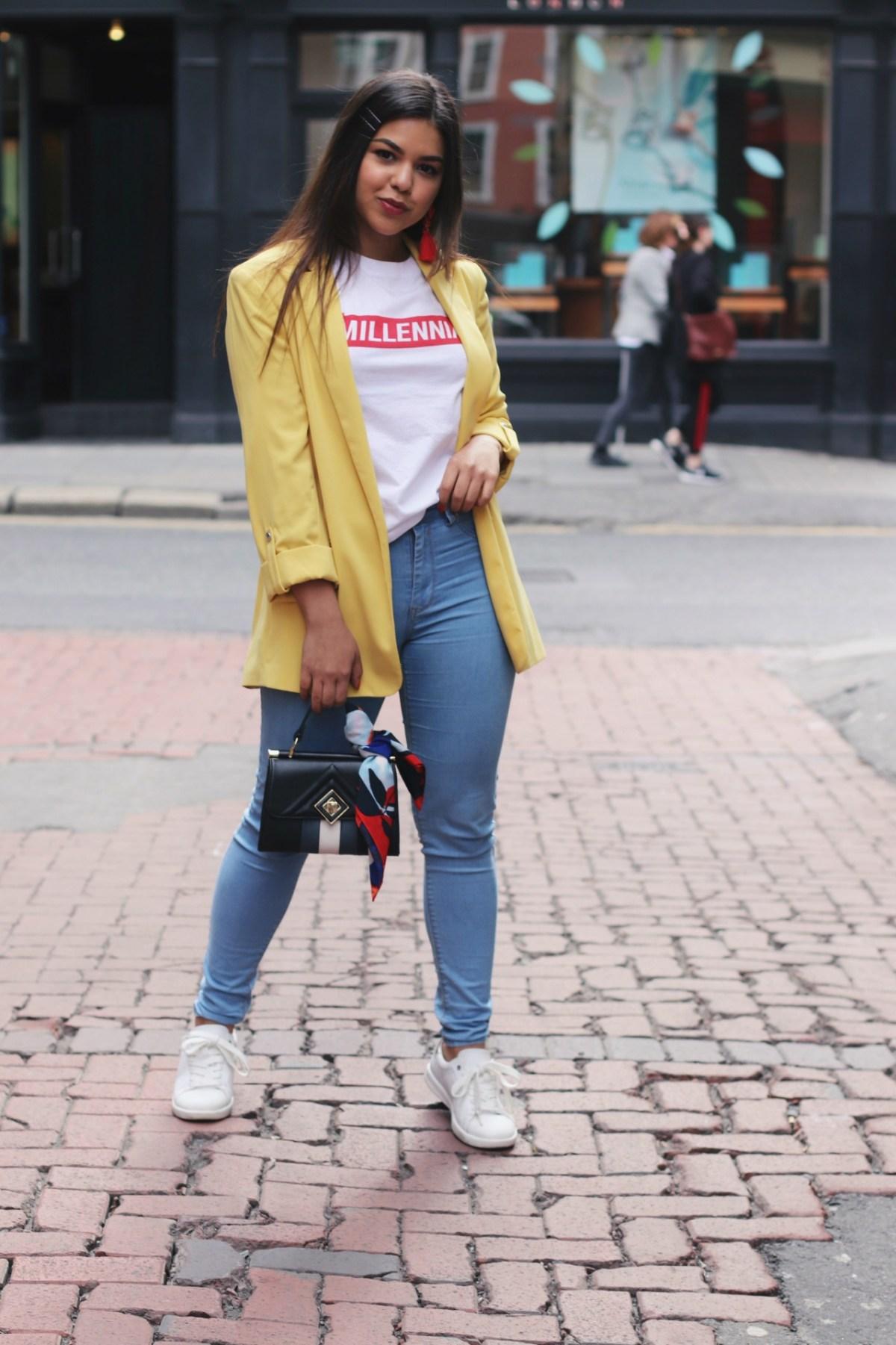 Yellow blazer outfit ideas 2018