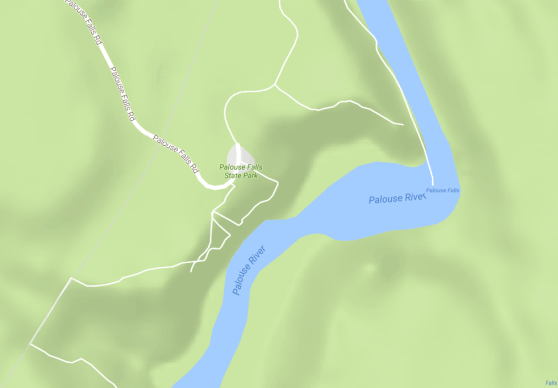 map showing the location of Palouse Falls State Park