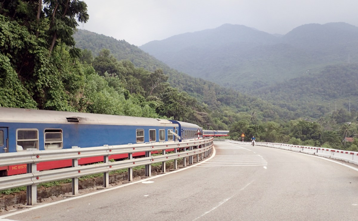 the mountains along a railway near the highways going up hai van pass