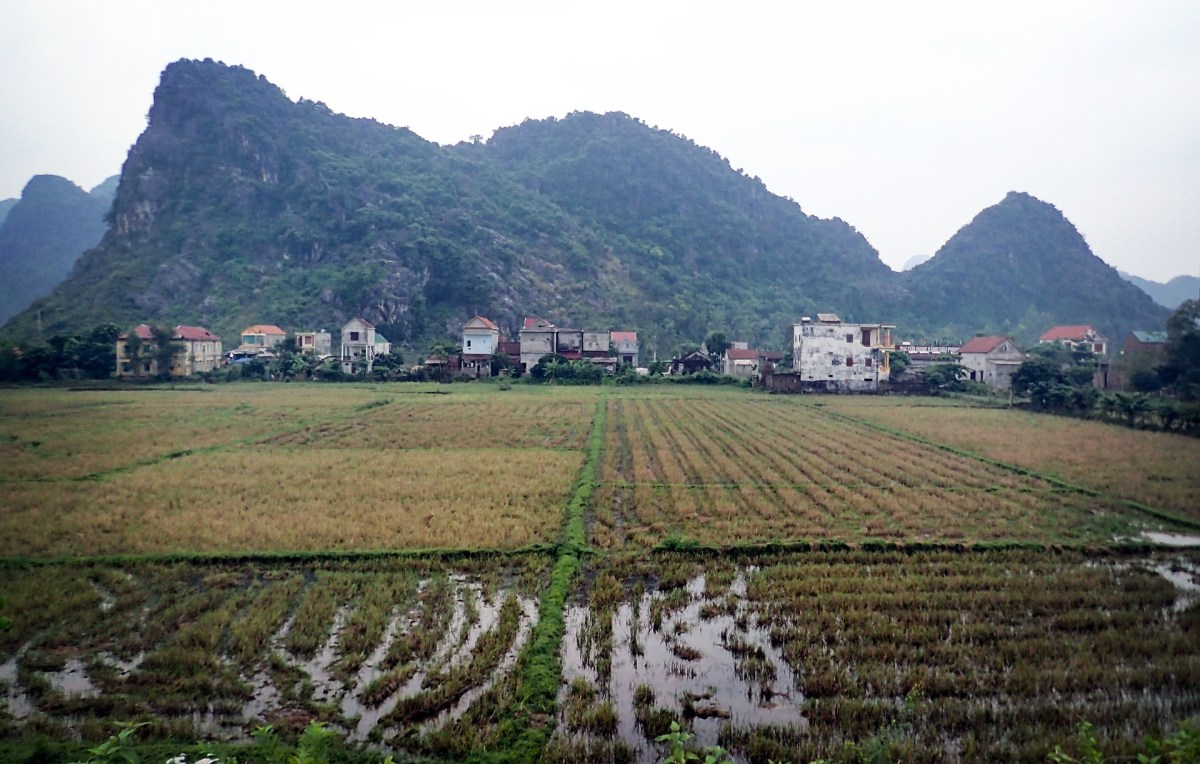 Houses in rural vietnam set in front of the beautiful Karst Mountains