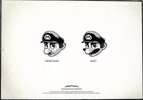 Affiche Mario Bros avec et sans moustache. Slogan : Moustaches make a différence (Agence TBWA)