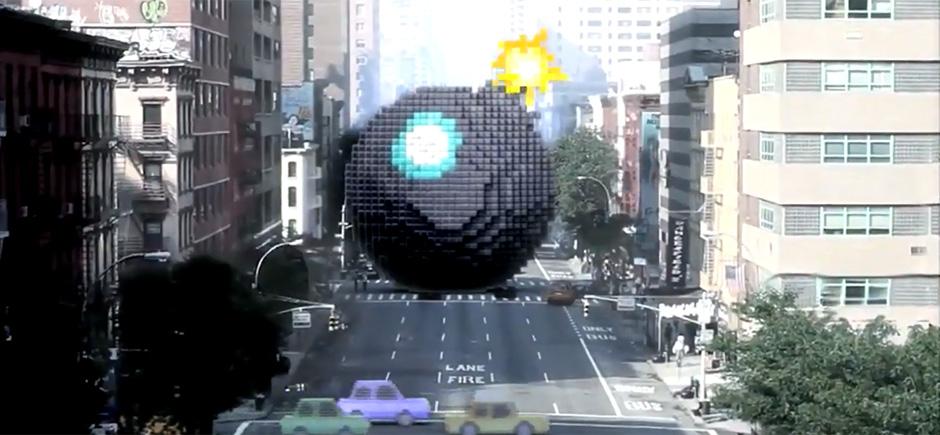 Bombe géante en pixel dans une photo de rue