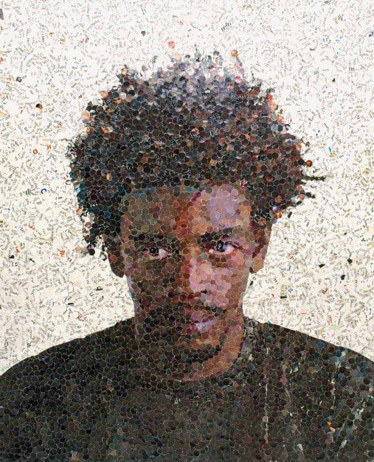 Portrait de Seu Jorge en confettis par Vik Muniz