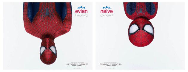 Affiche Evian avec Spider man adulte et enfant