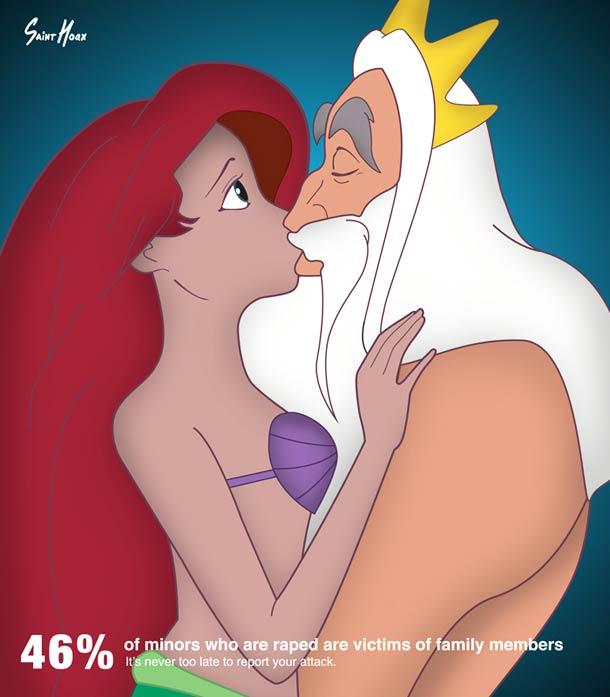 Ariel la petite sirène abusée par son père :