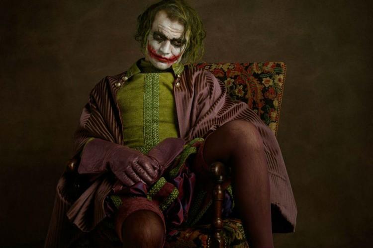 Portrait de Joker, triste sur une chaise dans le style peinture flamande