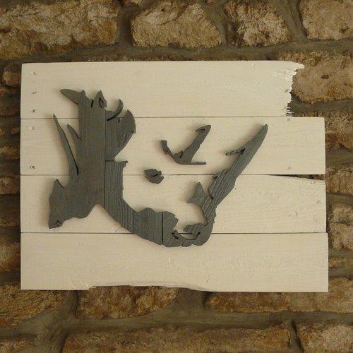 tableau rhinoceros en relief