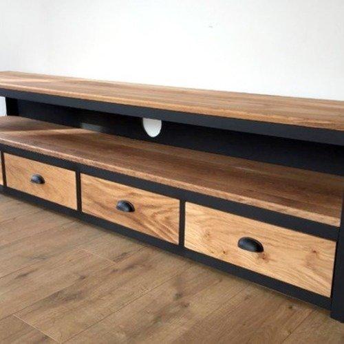 meuble tv chene massif 3 tiroirs un