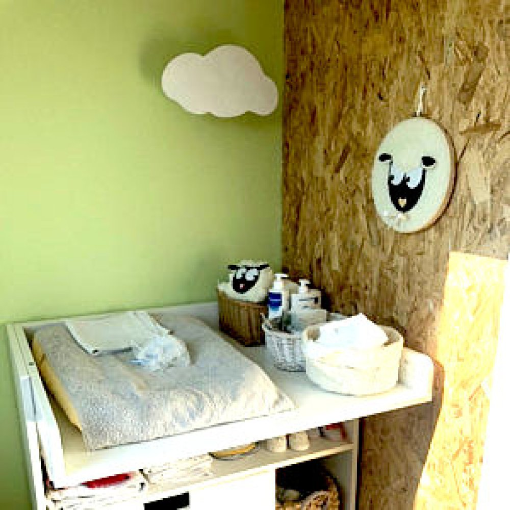 applique murale nuage bois bebe moyen